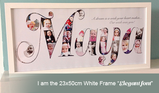 Name gift with white frame