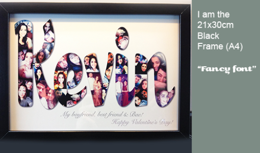 Name gift with black frame